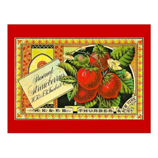 Etiqueta del cajón del vintage de las fresas de postal
