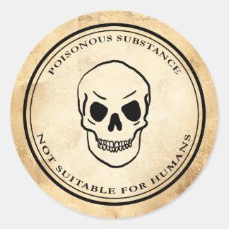 Pegatina Redonda Etiqueta del cráneo del veneno de la alquimia del