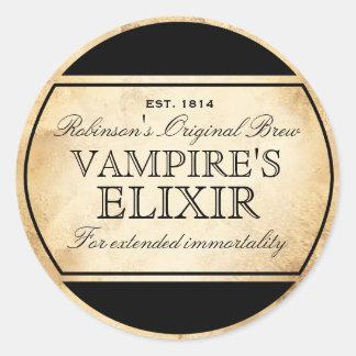 Etiqueta del elixir del vampiro de la alquimia del