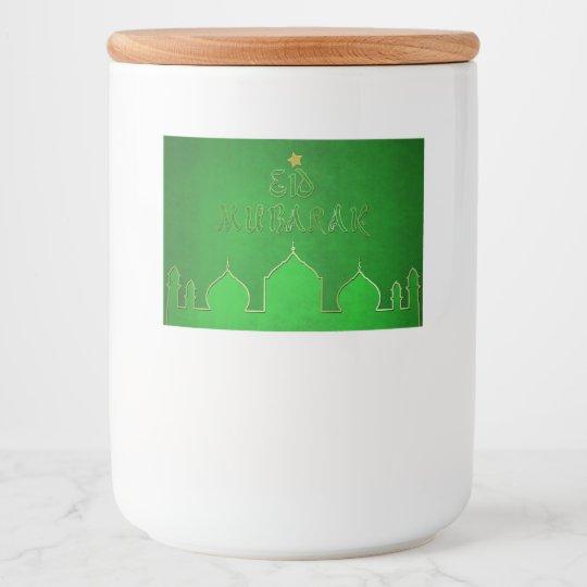 Etiqueta del envase de comida de la mezquita del