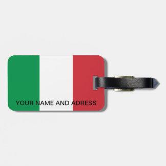 Etiqueta del equipaje con la bandera de Italia