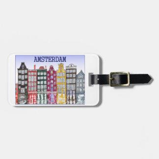 Etiqueta del equipaje de Amsterdam con el ejemplo