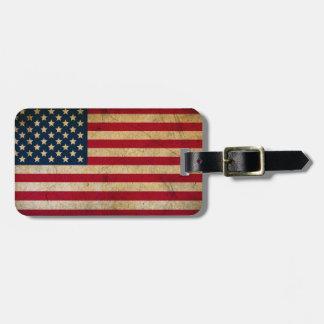 Etiqueta del equipaje de la bandera americana del