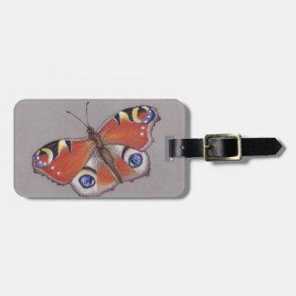 Etiqueta del equipaje de la mariposa de pavo real