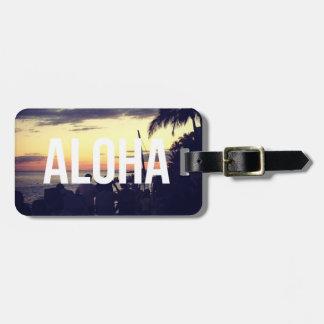 Etiqueta del equipaje de la puesta del sol de