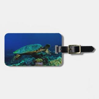 Etiqueta del equipaje de la tortuga de mar de