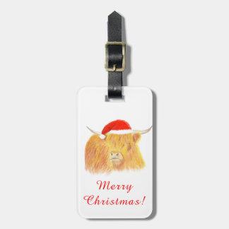 Etiqueta del equipaje de la vaca de la montaña del