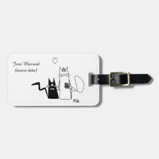 Etiqueta del equipaje de los gatos del boda