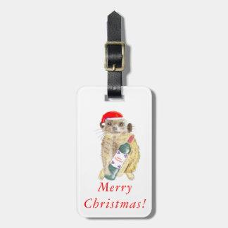 Etiqueta del equipaje de Meerkat del navidad