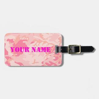 Etiqueta del equipaje de señora Pink Camo