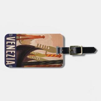 """Etiqueta del equipaje de """"Venezia"""" del vintage"""