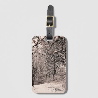 Etiqueta del equipaje del bosque del invierno