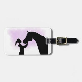 Etiqueta del equipaje del caballo de la silueta
