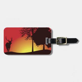 Etiqueta del equipaje del cazador de los ciervos