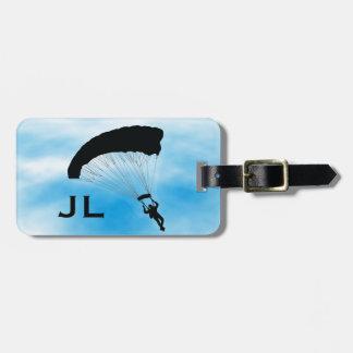 Etiqueta del equipaje del diseño de Skydiving que