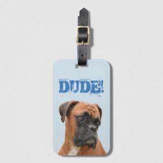Etiqueta del equipaje del dogo del boxeador con la