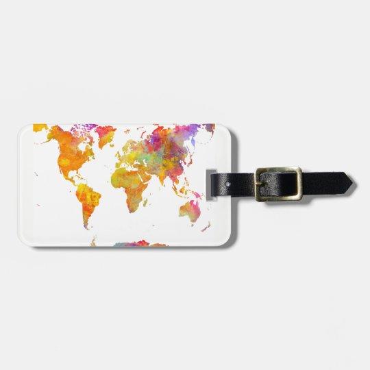 etiqueta del equipaje del mapa del mundo