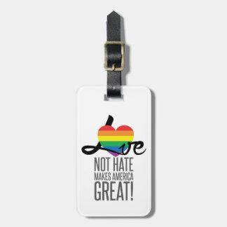Etiqueta del equipaje del odio del amor no (arco