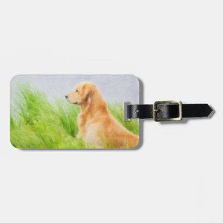 Etiqueta del equipaje del perro del golden