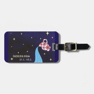 Etiqueta del equipaje del zodiaco del acuario