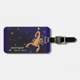 Etiqueta del equipaje del zodiaco del escorpión