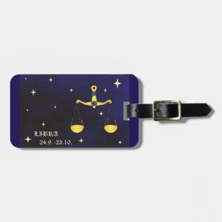 Etiqueta del equipaje del zodiaco del libra