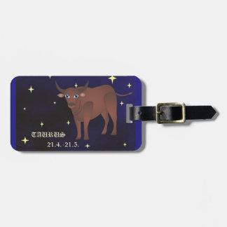 Etiqueta del equipaje del zodiaco del tauro con la