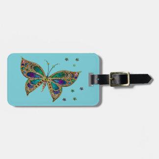 Etiqueta del equipaje--Mariposa del mosaico