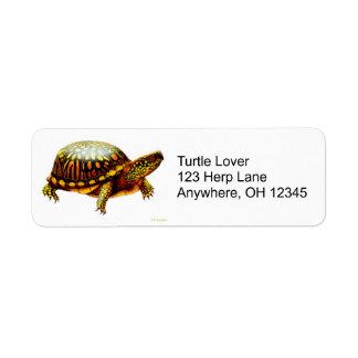 Etiqueta del este de la tortuga de caja