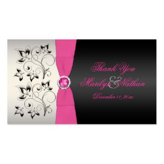 Etiqueta del favor de la bodas de plata rosada, tarjetas de visita