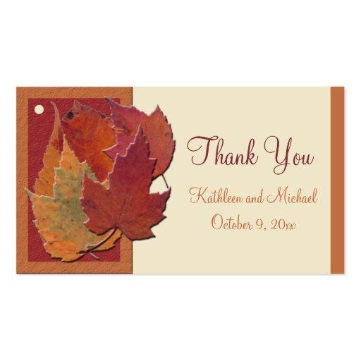 Etiqueta del favor de las hojas de otoño que se ca tarjeta de visita