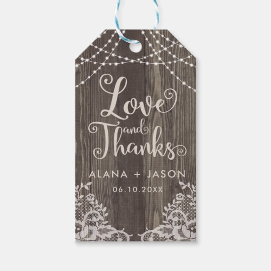 Etiqueta del favor de madera del país y del boda