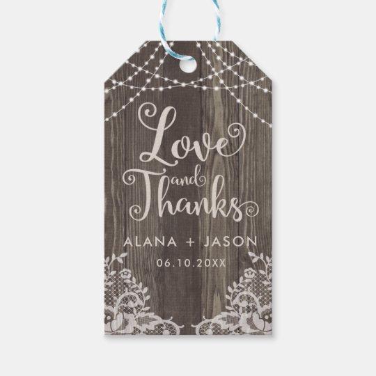 Etiqueta del favor de madera del país y del boda etiquetas para regalos