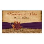 Etiqueta del favor del boda de la arpillera de las tarjetas de visita