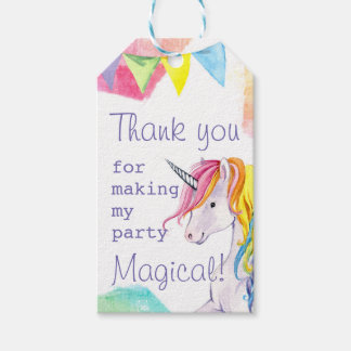 Etiqueta del favor del cumpleaños del unicornio