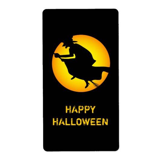 Etiqueta del feliz Halloween de la bruja de