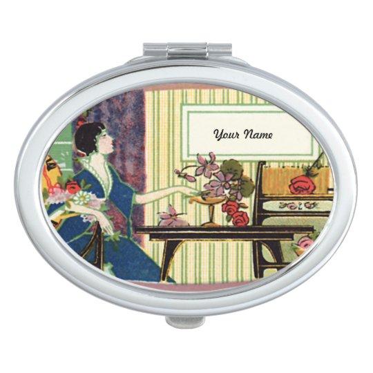 Etiqueta del francés del vintage espejo maquillaje