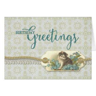 Etiqueta del gatito del vintage de los saludos del tarjeta de felicitación