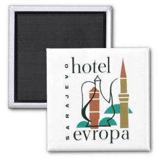 Etiqueta del hotel de Sarajevo del viaje del vinta Imán Cuadrado