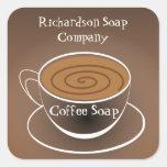 Etiqueta del jabón del café de la taza de café de