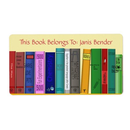 Etiqueta del libro con los libros