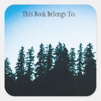 Etiqueta del libro cuadrado de los árboles de PNW