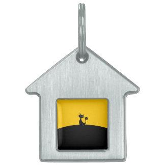 Etiqueta del mascota de la casa del gato negro placas mascota