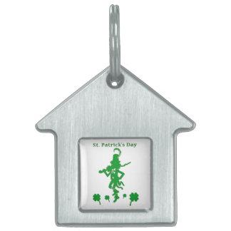 Etiqueta del mascota del trébol del Leprechaun del Placas De Mascota