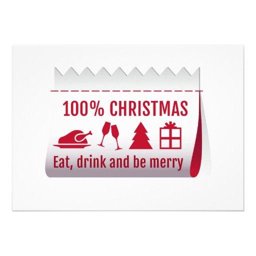 Etiqueta del navidad del 100%, tarjeta de la invit comunicado personalizado