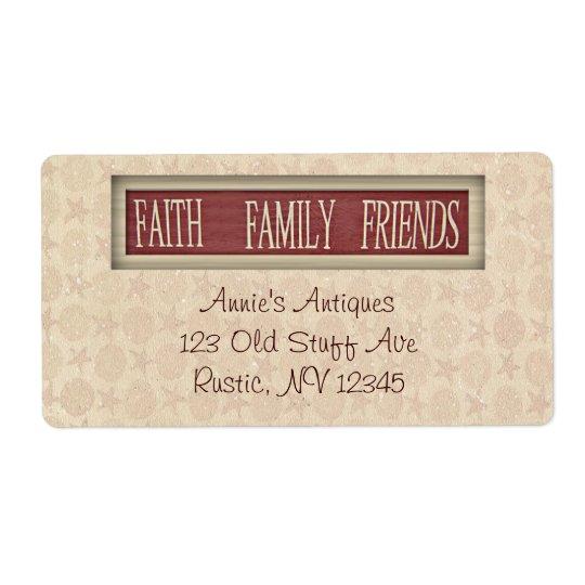 Etiqueta del negocio de los amigos de la familia etiqueta de envío