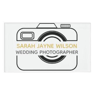 Etiqueta del nombre del fotógrafo del boda del