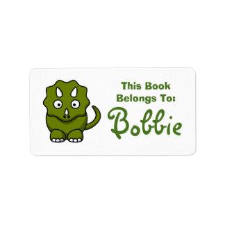 Etiqueta del nombre del libro del dinosaurio etiqueta de dirección