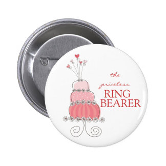 Etiqueta del nombre del pastel de bodas/botón rosa pin