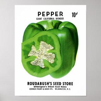 Etiqueta del paquete de la semilla de la pimienta póster